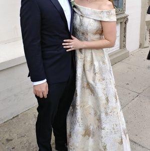 Calvin Klein Metallic Jacquard Gown